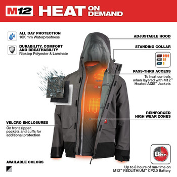 Milwaukee 203RN-21L M12 3-in-1 Heated AXIS Jacket Kit with Rainshell image number 3
