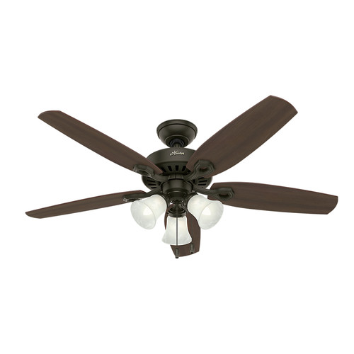 Hunter 53238 52 in. Builder Plus New Bronze Ceiling Fan with Light