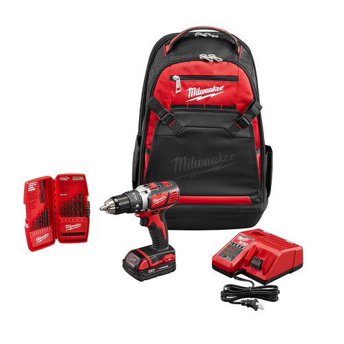 Milwaukee 2606-21BP M18 18V Cordless Lithium-Ion Compact 1/2 in. Drill Driver Kit with 15-Piece Bit Set & Jobsite Backpack