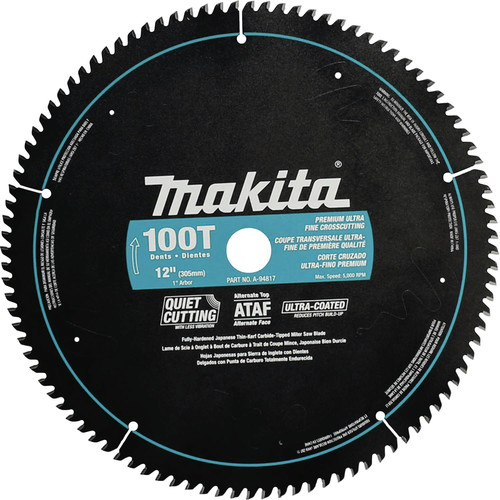 Makita A-94817 12 in. 100 Tooth Premium Ultra-Fine Crosscutting Miter Saw Blade image number 0
