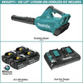 Makita XBU02PT1 18V X2 (36V) LXT Lithium-Ion Brushless Cordless Blower Kit with 4 Batteries (5.0Ah) image number 1