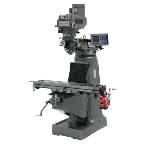 JET JTM-4VS-1 115/230V Variable Speed Milling Machine with 3-Axis ACU-RITE 200S DRO (Knee) and X-Axis Powerfeed