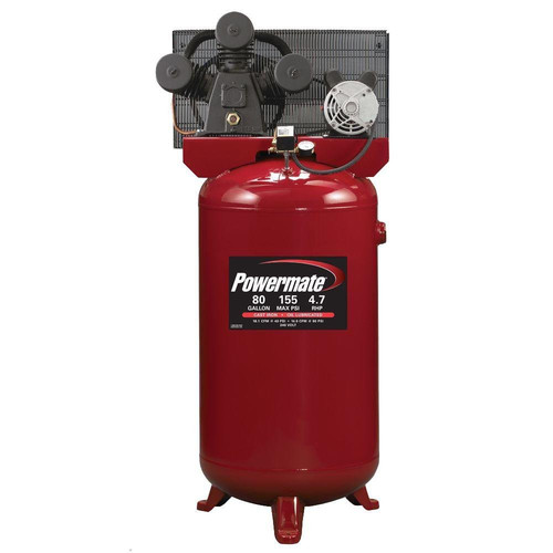 Powermate PLA4708065 4.7 HP 80 Gallon Hi-Flo Single Stage Cast-Iron Air Compressor