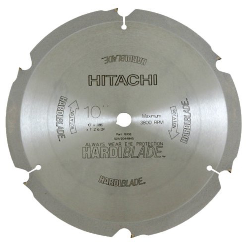 Hitachi 18108 10 in. 6-Tooth HardiBlade PCD Fiber Cement Saw Blade