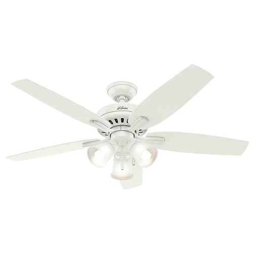 Hunter 53316 52 in. Newsome Fresh White Ceiling Fan with Light image number 0