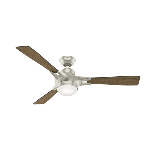 Hunter 59378 WiFi Enabled HomeKit Compatible  54 in. Signal Matte Nickel Ceiling Fan with Light with Integrated Control System - Handheld