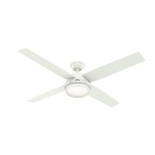 Hunter 59442 60 in. Dempsey with Light Fresh White Ceiling Fan with Light with Handheld Remote