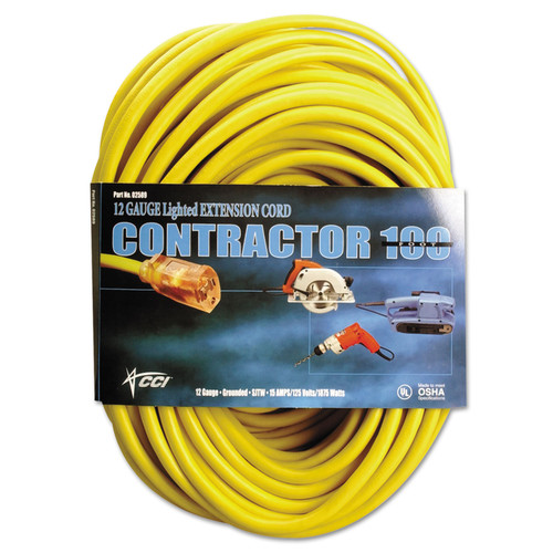 CCI 2589SW0002 100 ft. Vinyl 15 Amp Outdoor Extension Cord (Yellow) image number 0