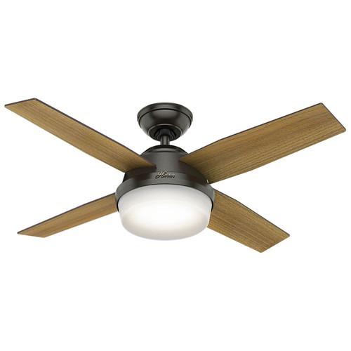 Hunter 59444 44 in. Dempsey with Light Noble Bronze Ceiling Fan with Light with Handheld Remote