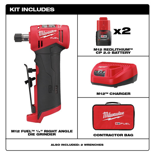 """Milwaukee 2485-20 M12 FUEL 1//4/"""" Right Angle Die Grinder Tool-Only"""