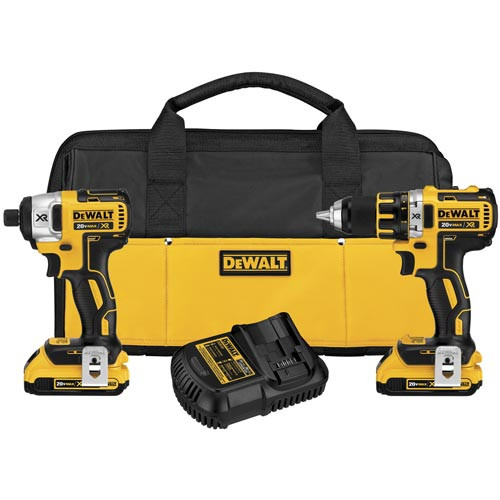 Factory Reconditioned Dewalt DCK281D2R 20V MAX XR Cordless Lithium-Ion 1/2 in. Brushless Drill Driver and Impact Driver Combo Kit