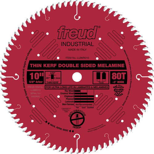 Freud LU96R010 10 in. 80 Tooth Thin Kerf Double-Sided Laminate/Melamine Saw Blade