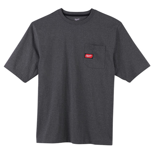 Milwaukee 601G-L Heavy Duty Short Sleeve Pocket Tee Shirt - Gray, Large image number 0