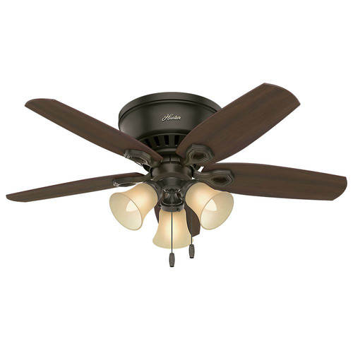 Hunter 51091 42 in. Builder Low Profile New Bronze Ceiling Fan with Light