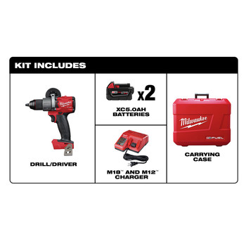Milwaukee 2803-22 M18 FUEL Lithium-Ion 1/2 in. Cordless Drill Driver Kit (5 Ah) image number 5
