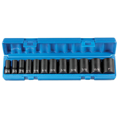 Grey Pneumatic 1202SD 12-Piece 3/8 in. Drive 12 Point Semi-Deep Length Impact Set