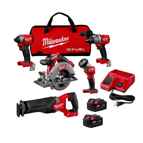 Milwaukee 2998-25 M18 FUEL Brushless Lithium-Ion Cordless 5-Tool Combo Kit (5 Ah) image number 0