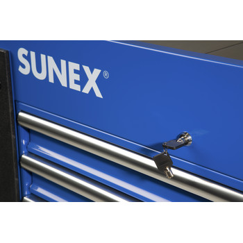 Sunex 8035XTBL 3 Drawer Slide Top Utility Cart with Power Strip (Blue) image number 4