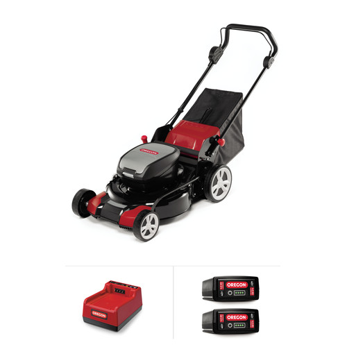 Oregon 591077 40V MAX LM400 Lawnmower Kit with two 4.0 Ah Battery Packs and Rapid Charger