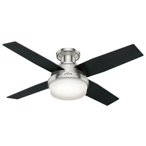 Hunter 59243 44 in. Dempsey Brushed Nickel Ceiling Fan with Light and Remote