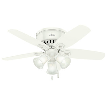 Hunter 51090 42 in. Builder Low Profile Snow White Ceiling Fan with LED
