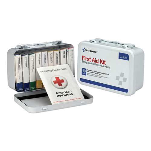 First Aid Only 240-AN Unitized First Aid Kit for 10 People, 64-Pieces, OSHA/ANSI, Metal Case image number 0