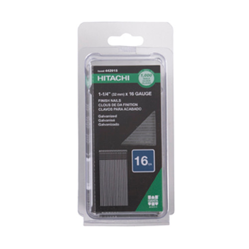 Hitachi 44201S 16-Gauge 1-1/4 in. Electro Galvanized Straight Finish Nails (1,000-Pack)