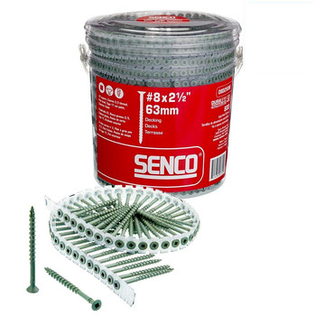 SENCO 08D250W 8-Gauge 2-1/2 in. Exterior Collated Decking Screw (800-Pack)