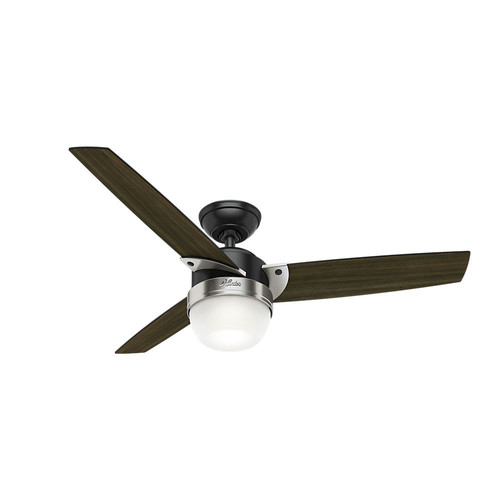 Hunter 59228 48 in. Contemporary Flare Ceiling Fan with Light and Remote (Matte Black)