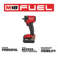 Milwaukee 2855P-22 M18 FUEL Lithium-Ion Brushless Compact 1/2 in. Cordless Impact Wrench Kit with Pin Detent (5 Ah) image number 2