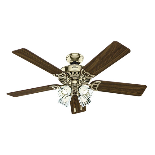 Hunter 53066 52 in. Studio Series Bright Brass Finish Ceiling Fan with Light