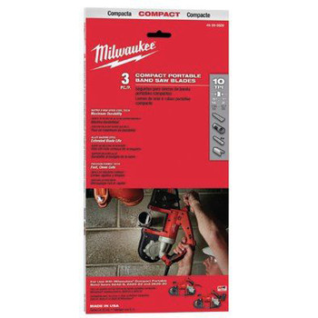 Milwaukee 48-39-0509 10 TPI Compact Portable Band Saw Blade (3-Pack)