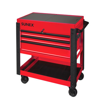 Sunex 8035XT 3 Drawer Slide Top Utility Cart with Power Strip (Red) image number 0