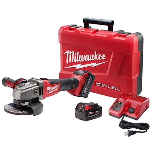 Milwaukee 2781-22 M18 FUEL 4-1/2 in. - 5 in. Slide Switch Grinder with Lock-On and (2) REDLITHIUM Batteries image number 0