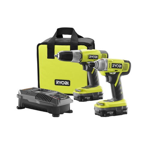Factory Reconditioned Ryobi ZRP882 ONE Plus 18V Cordless Lithium-Ion Drill/Impact Driver Combo Kit