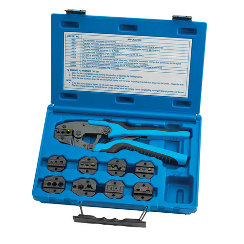 S&G Tool Aid 18980 Quick Change Ratcheting Terminal Crimping Kit with 9 Die Sets