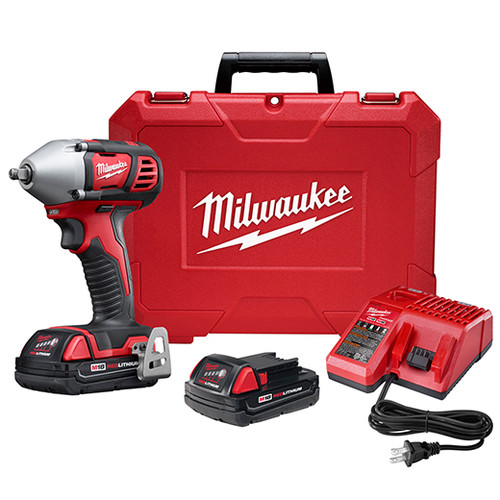 Factory Reconditioned Milwaukee 2658-82CT M18 18V Cordless Lithium-Ion 3/8 in. Impact Wrench Kit with Friction Ring