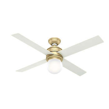 Hunter 59320 52 in. Hepburn Modern Brass Ceiling Fan with Light and Wall Control