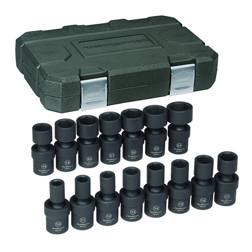 GearWrench 84939N 15-Piece 1/2 in. Drive 6-Point Metric Universal Impact Socket Set image number 0