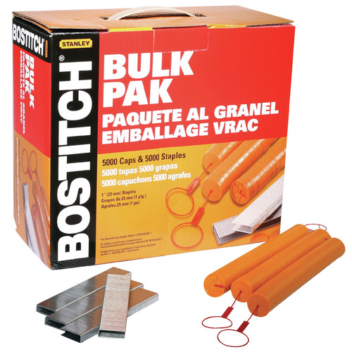Bostitch CAPPAK-5M 1 in. Caps & Staples (5,000-Pack)