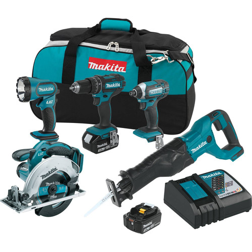 Factory Reconditioned Makita XT505-R 18V LXT 3.0 Ah Cordless Lithium-Ion 5-Piece Combo Kit