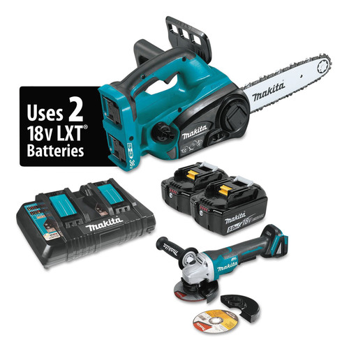 Makita XCU02PTX1 18V X2 (36V) LXT 5.0 Ah Cordless Lithium-Ion Chain Saw and Angle Grinder Combo Kit image number 0