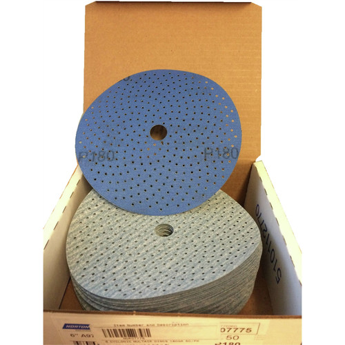 Norton 7775 50-Piece Cyclonic Dry Ice 180 Grit 6 in. NorGrip Discs Pack image number 0