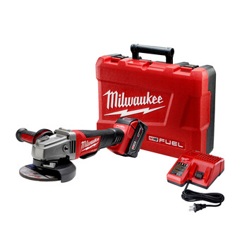 Milwaukee 2780-21 M18 FUEL Brushless Lithium-Ion 4-1/2 in. / 5 in. Cordless Paddle Switch No-Lock Grinder Kit (5 Ah)