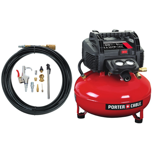 Factory Reconditioned Porter-Cable C2002-WKR 0.8 HP 6 Gallon Oil-Free Pancake Air Compressor with 13 Piece Hose and Accessory Kit