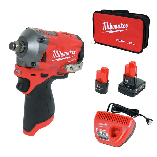 Milwaukee 2555-22 M12 FUEL Stubby 1/2 in. Impact Wrench Kit with Friction Ring image number 0