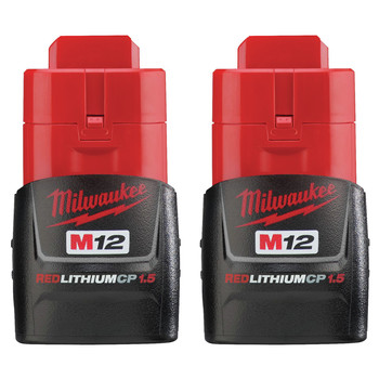 Milwaukee 48-11-2411 M12 REDLITHIUM CP 1.5 Ah Lithium-Ion Compact Battery (2-Pack)