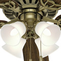 Hunter 53063 52 in. Studio Traditional Antique Brass Walnut Indoor Ceiling Fan with 4 Lights image number 8