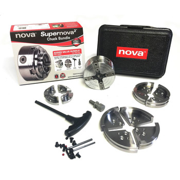 "Nova SuperNova2 Woodturning Scroll Chuck Package SN2 1/"" x 8 tpi Reversible Ins"