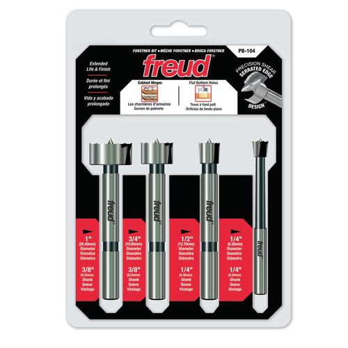 Freud PB-104 4 Piece Precision Shear Forstner Set